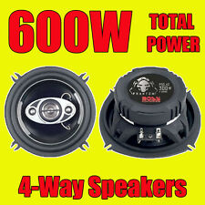 BOSS 600W TOTAL 4WAY 5.25 INCH 13cm CAR DOOR/SHELF COAXIAL SPEAKERS with grills