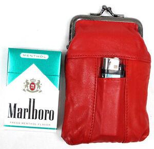 Soft Leather Cigarette Case Snap Top Closure Lighter Pocket Fit 100s 84s 4 Color