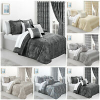 Luxury Quilted Bedspread Double King Bed Throw With Eyelet Lined Curtains Pair