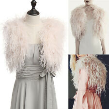 Real Ostrich Feather Fur Bridal Bridesmaid Pink Top Trendy Wedding Cape Wrap