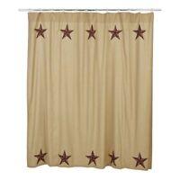 "Cotton Shower Curtain Star Appliqued Border Khaki Check Red Plaid 72"" Landon"
