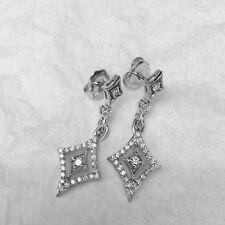 1.50 Carat Diamond Drop Dangle Stud Earrings 14k White Gold VS-F Push Backs