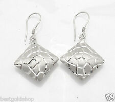 Technibond Diamond Cut Puffed Square Earrings Platinum Clad Sterling Silver 925