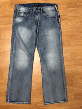 SILVER JEANS MEN'S STRAIGHT LEG 5 POCKET DESTROYED JEANS SIZE 33*30 A13-02
