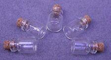 5 flacone di vetro 15x22mm bottiglie con tappo di sughero. Artigianato Ciondoli Vaso piccolo (A2)