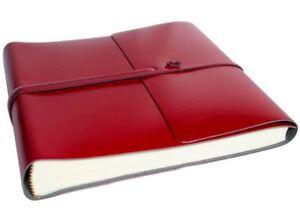 Pachino Recycled Leather Photo Album, Medium Cherry - Handmade in Italy
