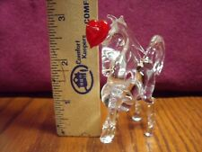 Vintage Estate Glass Figurine Unicorn Blown Clear Crystal w/ Red Heart on Horn