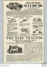 1920's PAPER AD USA US Army Baby Tank Toy Camouflaged Tractor Mechanical