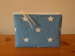 Laura Ashley Blue Stars Fabric Storage Coin Pouch Make Up Cosmetics Case Bag