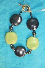 Kazuri Bracelet With Pitipat Antique Gold and Light Green Beads - Sku#1345