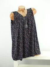Shirt + Kette Top Tunika Lagenlook Größe 46 - 52 one size schwarz bunt geblümt