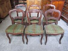 Gruppo di sei sedie luigi filippo noce 1860 ca - da restaurare