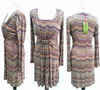 Womens Retro Style 70s 80s Midi Tunic Day Dress Size 14 Stretch Jersey NEW