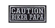 Caution Biker Papa Heavy Rocker Patch Aufnäher Kutte Bügelbild Motorrad Stick