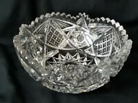 """American Brilliant Cut Glass 8"""" Round Serving Bowl Stars Buttons Heavy Cuts"""