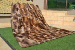 "Natural Muskrat Musquash Mink Real FUR Blanket Queen Throw 86""x75"" rug B3851"