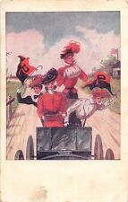 C96/ College Girls Series Postcard c1910 Pretty PRINCETON UNIVERSITY Car Drive
