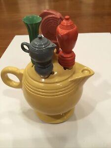 Rare Fiesta Fiestaware Mini Yellow Teapot with 4 Cheese Spreaders Knife Set 🧀🧀