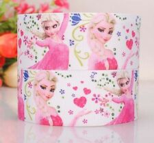 "Grosgrain Ribbon 1"" Frozen Elsa On White Printed For Hairbows Usa Seller"