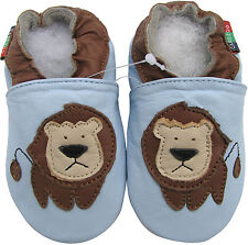 carozoo lion light blue 0-6m S soft sole leather baby shoes