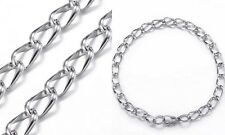 Stainless Steel Curb Chain Charm Bracelet Starter Bracelet 1/4'' 6mm Wide 8""