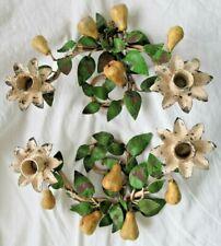 Pair Vtg Tole Italian Toleware Metal Candle Holders Pears Tree Italy Enameled