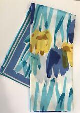 Vintage Vera Neumann Blue Yellow White Brown Wearable Art Flowers Tulips? 40x15