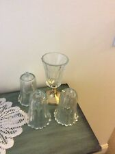 HOME INTERIOR / HOMCO SET OF 4 CLEAR KIMBERLY VOTIVE CUPS / CANDLE HOLDERS