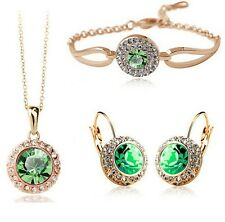 18K Gold Plated Swarovski Element Green Crystal Jewellery Necklace And Earrings