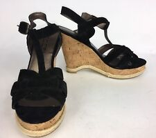 Moda Spana Women's Platform Sandals Black Suede Wedges Heels Shoes Sz 8 Spain