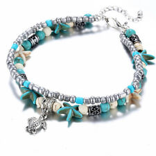 Ankle Bracelet Foot Leg Chain Silver Blue Starfish Charm Women Retro Jewelry