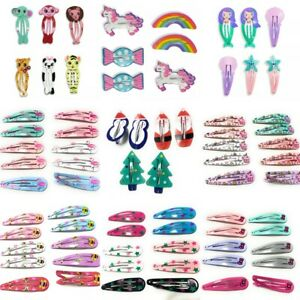 Set Pack Kids Girls Bendies Sleepies Hair Snap Clip Slides - Novelty Design Gift