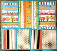 Premade Scrapbook Page Embellish SEWN Kit/Card Make (7 pieces): Fall Set 4