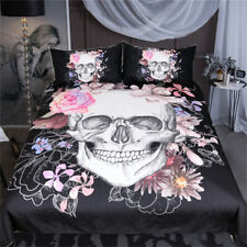 Sugar Skull &Floral Duvet Cover Set 3pcs Gothic Bedclothes Flowers Bed Twin Pink