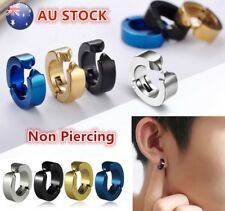 Man Hoop Magnetic Stainless Titanium Fake Earrings clip on no ear piercing hole