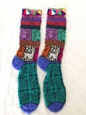 Hand knitted handmade Peruvian winter ethnic long socks  AB10