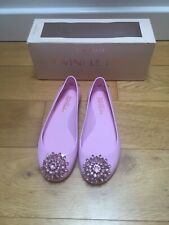 Ted BAKER Pink Flat Ballet Shoes  Rose Gold Uk 4 Jewel Soft Worn Once In Box 🎀