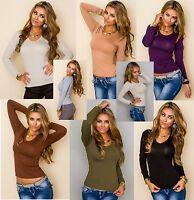 Damen Basic Shirt Langarm Bluse Top Pullover Oberteil Tailliert 36-40