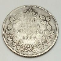 1914 Canada 10 Ten Cents Dime Canadian Circulated Coin D984