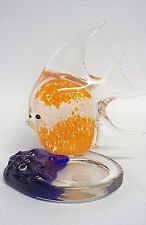 Fish Candle Holder PartyLite Art Glass Tealight Orange White Blue Paperweight