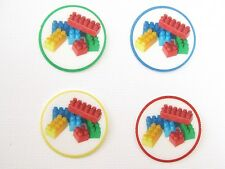 12 PRE CUT EDIBLE RICE WAFER PAPER CARD 'LEGO' INSPIREDCUPCAKE PARTY TOPPERS