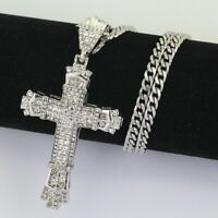 Ladies / Men's 925 Sterling Silver Cross Chain Crucifix Jesus Necklace Pendant