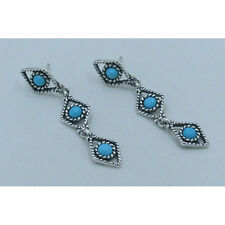 .925 Sterling Silver Natural Blue Sleeping Beauty Turquoise Dangle Earrings