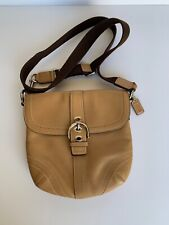 Coach Tan Leather Swingpack Crossbody Bag With Canvas Strap