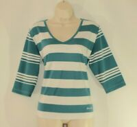 Turquoise & White MYSTIFY V-Neck 3/4 Sleeve Casual Top Sweater Blouse Size XL