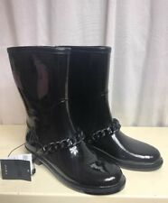 ZARA Woman Rainboots Rubber Black Ankle Chain Casual Boots Lined 36 / 6 NWT