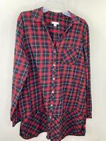 J.Jill Women's Large Red Black Plaid Button Up Top Shirt Blouse EUC
