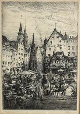 Mark Geissler (German 1881-1965) Etching Market Scene in Nuremberg signed  c1920