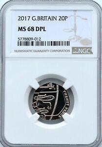 2017 20P TWENTY PENCE NGC MS68 DPL DEEP PROOF LIKE ROYAL MINT GREAT BRITAIN Coin
