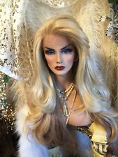 Stunning, HUMAN HAIR BLEND, Long Blend Of Golden Blonde & Red  Lace front Wig!